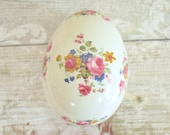 Vintage egg shaped trinket dish with lid, traditional style pink rose floral design Burleigh Ironstone, made in England