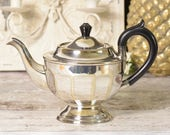Vintage silver metal plate teapot with wooden handle
