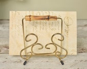Vintage brass wirework letter rack from 1950's/60's with bamboo handle