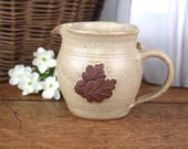 Vintage creamer, small jug or pitcher, natural stoneware, made in England