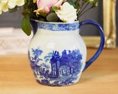 Large vintage jug or pitcher, blue oriental style willow type pattern, ironstone