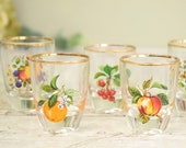 Set of six, retro vintage shot glasses from the 1960's bright fruits designs.