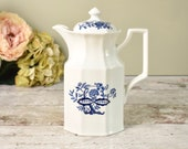 Vintage coffee pot, blue and white Delft design ceramic pot