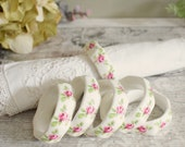 Set of six vintage napkin rings, English bone china pink Rose design. octagonal ring shape
