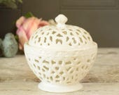 Pretty cream ceramic trinket dish, vintage creamware lacework lidded pot