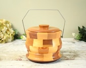 "Mid Century retro ice bucket or biscuit barrel, block wood ""Cambridgeware"" in great condition"