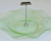 vintage green pressed glass cake plate, 1930's Deco style with central carrying handle