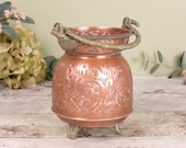 vintage boho embossed copper pot or cauldron from north Africa, very decorative.