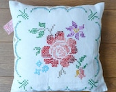 vintage embroidered cushion/pillow, hand made with up-cyled vintage cross stitch rose embroidered fabric