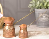 Vintage Turkish copper warming band or jugs, decorative embossed copper surface