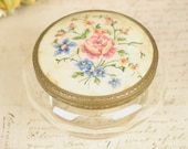 vintage glass dressing table trinket dish or pot,  with pretty petit point lid.