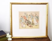 Framed vintage 19thC illustration print of a lively social occasion, in gilt frame, one of four