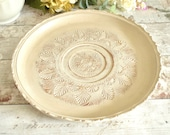 Vintage wooden platter or tray, decorative cream painted and distressed carved wood
