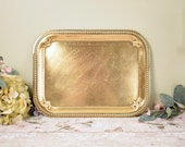 Vintage decorative engraved rectangular brass tray, drinks tray, serving platter, plate or charger