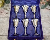 Boxed set of six plain vintage silver plated wine goblets