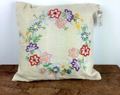 Vintage hand embroidered linen cushion/pillow