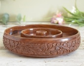 Vintage wooden platter or shallow ring bowl, decorative carved wood