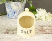 Open salt cellar or pot, cream glazed ceramic with 'salt' in black lettering