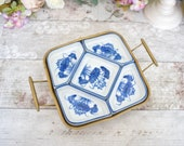 Vintage white and blue square snack serving dish on brass tray with side handles