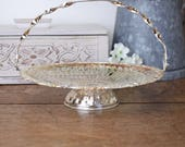 vintage trinket or sweet serving basket, decorative silver metal