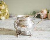 Ornate silver plated Edwardian creamer, small jug, with etched design