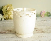 Pretty cream ceramic storage jar, vintage creamware lacework lidded pot