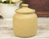 Rustic stoneware storage jar or pot with lid, country style kitchen storage jar