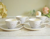 Retro grey and white coffee cups and saucers, set of four, Royal Doulton 'Frost Pine' design