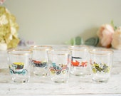 Set of five, retro vintage shot glasses classic cars design.