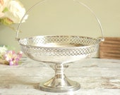 vintage silver plated pedestal dish, with pretty filigree cutout edge, and carrying handle, silver basket