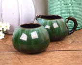Dark green milk jug or creamer and sugar bowl, ombre drip glazed ceramic