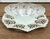 Vintage metal filigree edged plate with pressed glass jam/preserve dish/sugar bowl