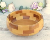 Vintage fruit bowl or salad bowl,  blocked wood - 'Cambridgeware""