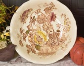 Large vintage dish or bowl by Alfred Meakin, with pretty brown floral basket transfer design