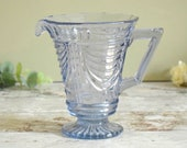Retro vintage blue glass jug or pitcher. 1940's water jug, Art deco style glass
