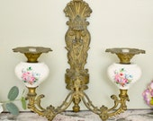 Vintage French salvaged bronze colour metal wall light fitting, with floral ceramic feature
