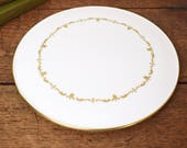 Vintage cake plate, Royal Worcester bone china, cream with classic gilded design and rim