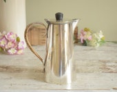 Unusual vintage EPNS silver plated coffee pot with basketweave covered handle