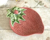 Vintage strawberry shaped small plate or dish with raised, berry motif