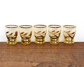 1950's shot or sherry glasses, set of five gilded glass