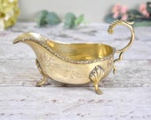 vintage EPNS sauce or gravy boat, classical design with etched surface and scalloped feet