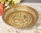 Vintage decorative embossed metal tray, drinks tray, trivet, serving platter