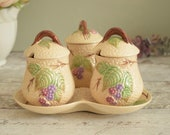 "Jam pot set with matching dish, Wade pottery dimpled 'Bramble"" design breakfast set, preserve jars"