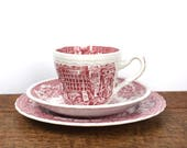 Red and white vintage cup, saucer and plate trios - red pastoral toile design.
