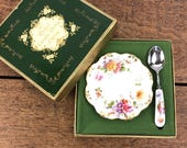 Vintage bone china jam/jelly or condiment dish with matching spoon, Royal Crown Derby in original box