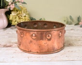 Shallow vintage copper planter or plant pot
