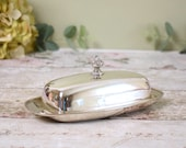 Decorative vintage silver plate butter dish