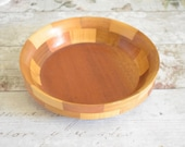 Vintage shallow blocked wood bowl - 'Cambridgeware""