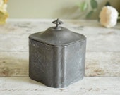 Georgian English Pewter tea caddy, lidded box, embossed pewter