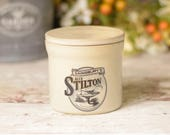Stilton storage jar or pot with lid, ceramic stoneware with traditional style text and logo